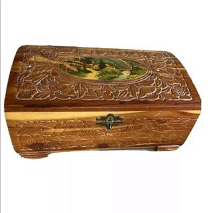 Vintage hand carved wooden jewelry box mirror